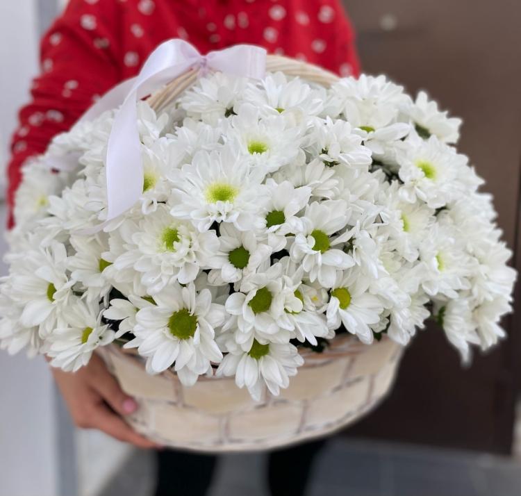 Корзина из хризантем White #2