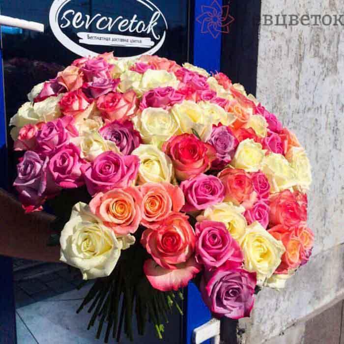 Букет из 101 розы 60-70см Микс Россия