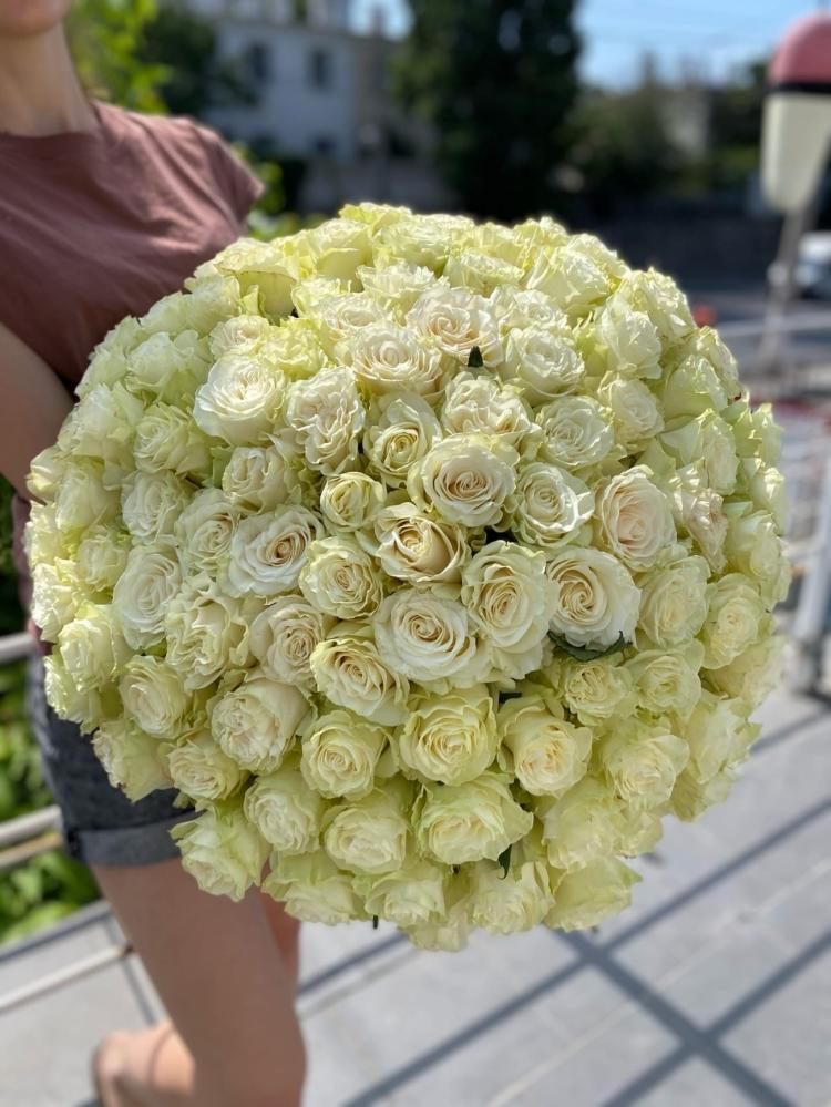 """Premium букет из 101 белой розы 60-70см """"Эквадор"""""""