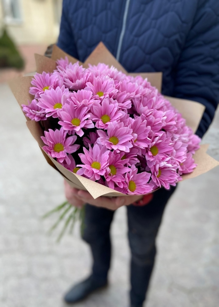 Букет из кустовых хризантем Pink